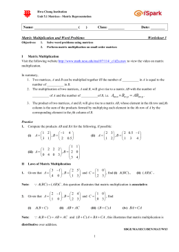 Matrix Multiplication and Word Problems Worksheet 3