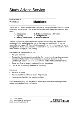 Matrices - University of Hull