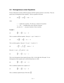 3.6 Homogeneous Linear Equations