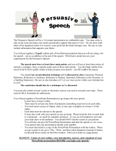 Requirements for the Persuasive Speech