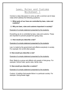 Laws, Rules and Customs Worksheets