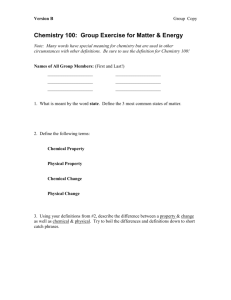 Chemistry 100: Group Exercise for Matter & Energy