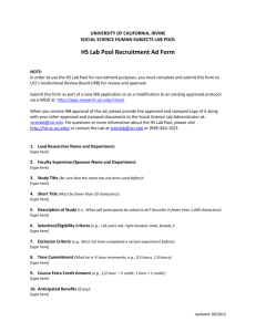 Lab Ad Form - Human Subjects Lab - University of California, Irvine