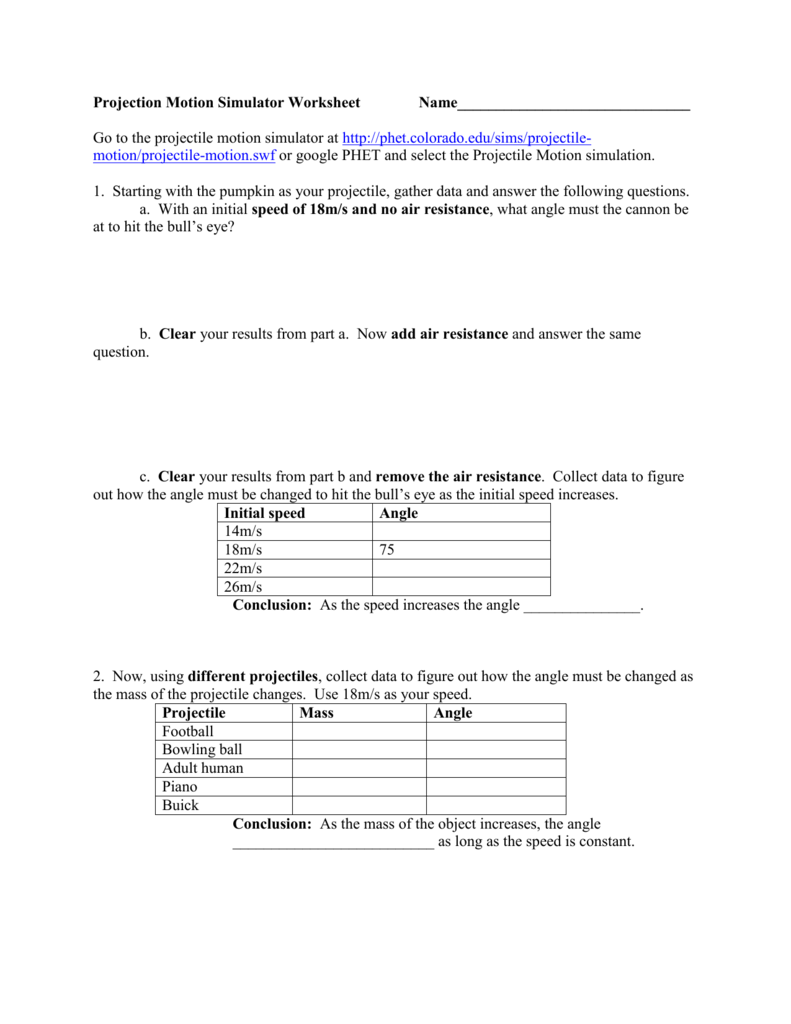 Go to the projectile motion simulator atphet – Projectile Motion Worksheet