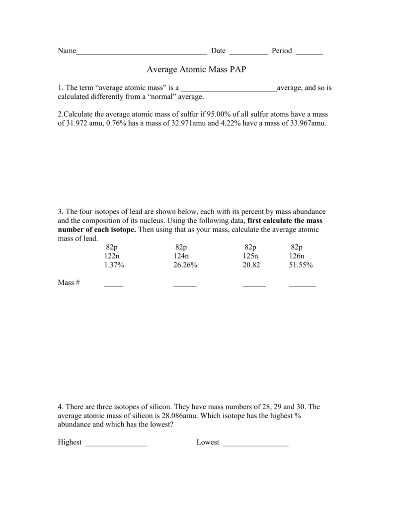 worksheet Calculating Atomic Mass Worksheet average atomic mass ws pap