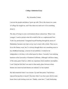 College Admission Essay NYU