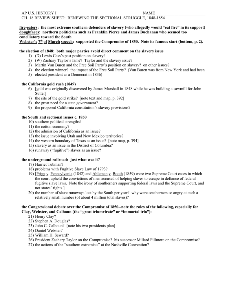 worksheet The Kansas Nebraska Act Of 1854 Worksheet Answers chapter 18 study guide