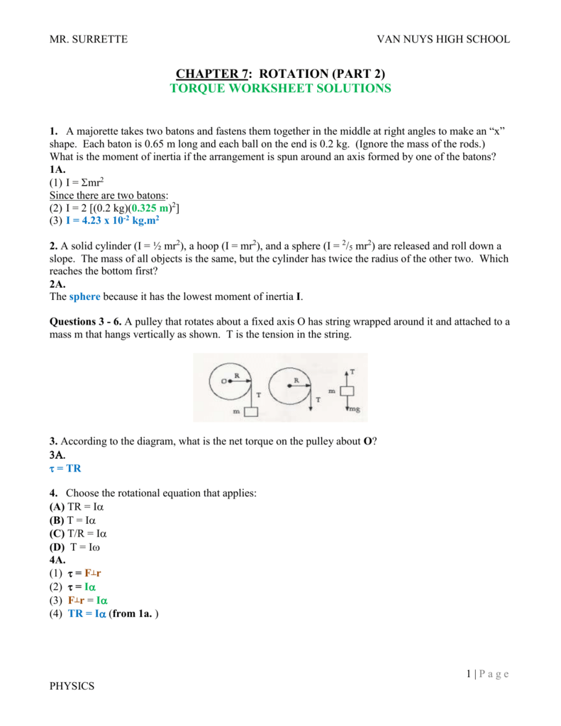 worksheet Physics Torque Worksheet 1 vnhsteachers