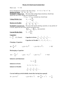 Physics 331 Final Exam Formula Sheet