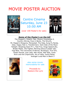 MOVIE POSTER AUCTION Centre Cinema Saturday, June 23 10:00