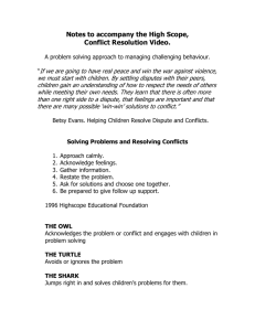 Notes to accompany the High Scope, Conflict Resolution Video