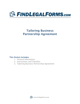 Tailoring Partnership Agreement