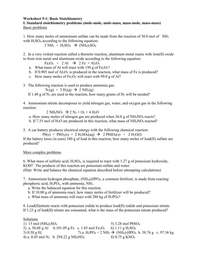 Worksheets Stoichiometry Problems Worksheet stoichiometry problems