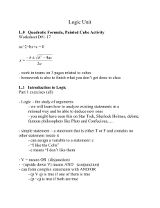 Logic Unit L.0 Quadratic Formula, Painted Cube Activity Worksheet