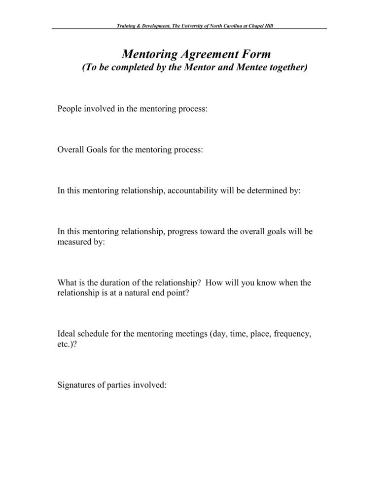 Sample Mentoring Agreement Form