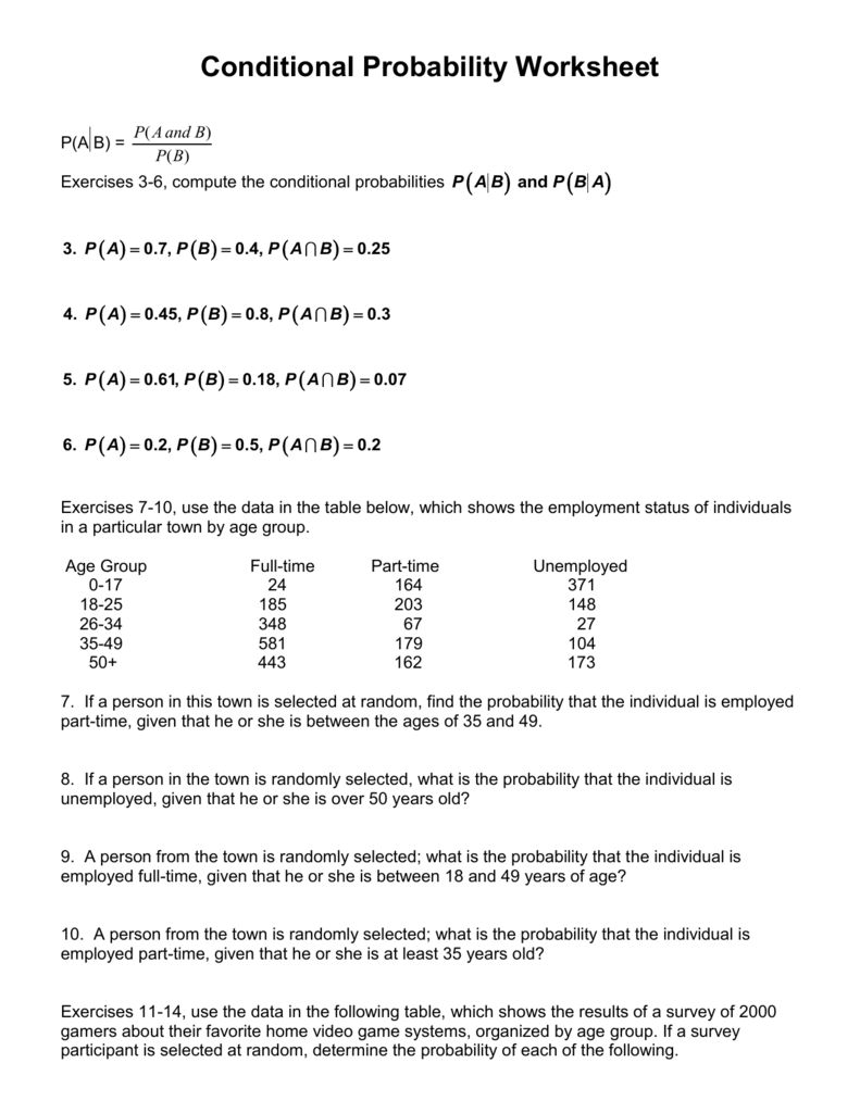 Conditional Probability Worksheet Intended For Probability Worksheet High School