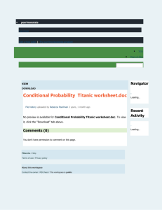 Conditional Probability Titanic worksheet