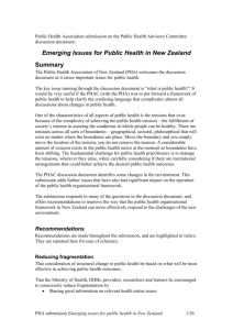 Emerging Issues for Public Health in New Zealand
