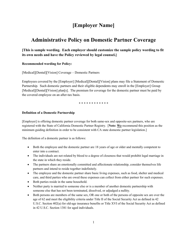 sample administrative policy on domestic partners
