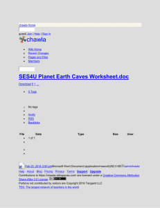 chawla - SES4U Planet Earth Caves Worksheet