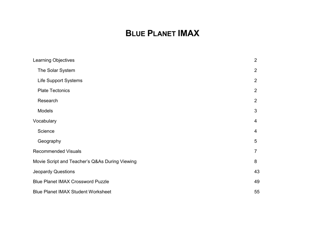 Blue Planet IMAX Student Worksheet