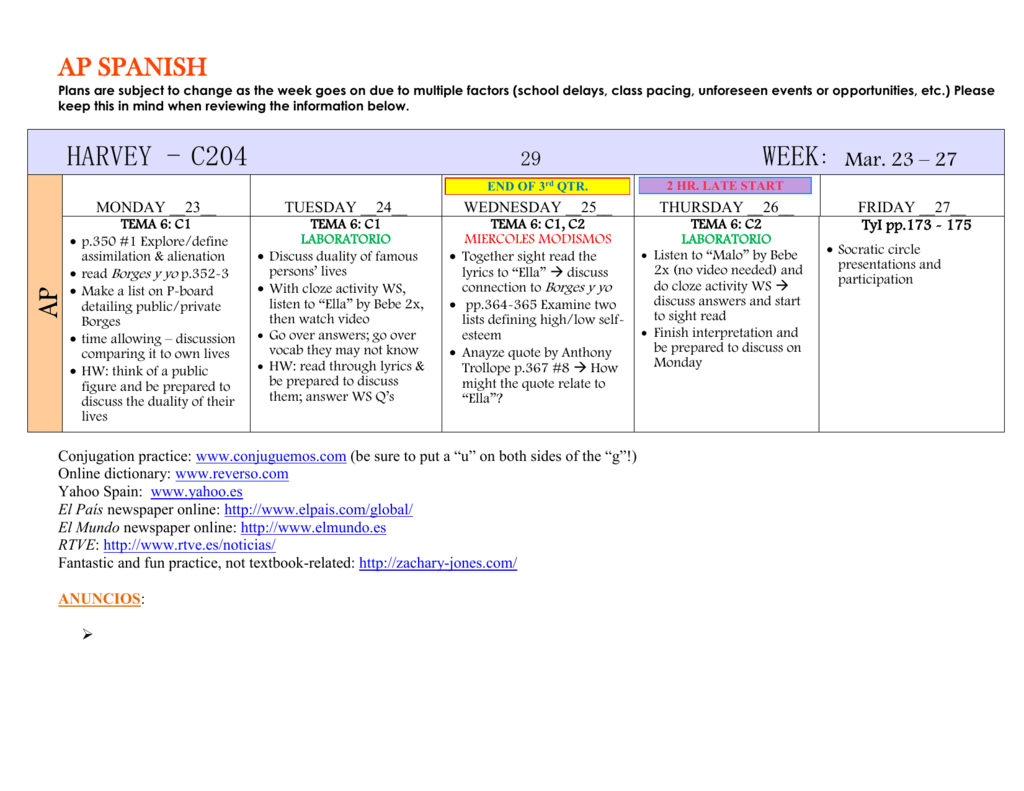 Ap Spanish Plans Are Subject To Change As The Week Goes On Due