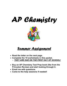 ap chem summer homework