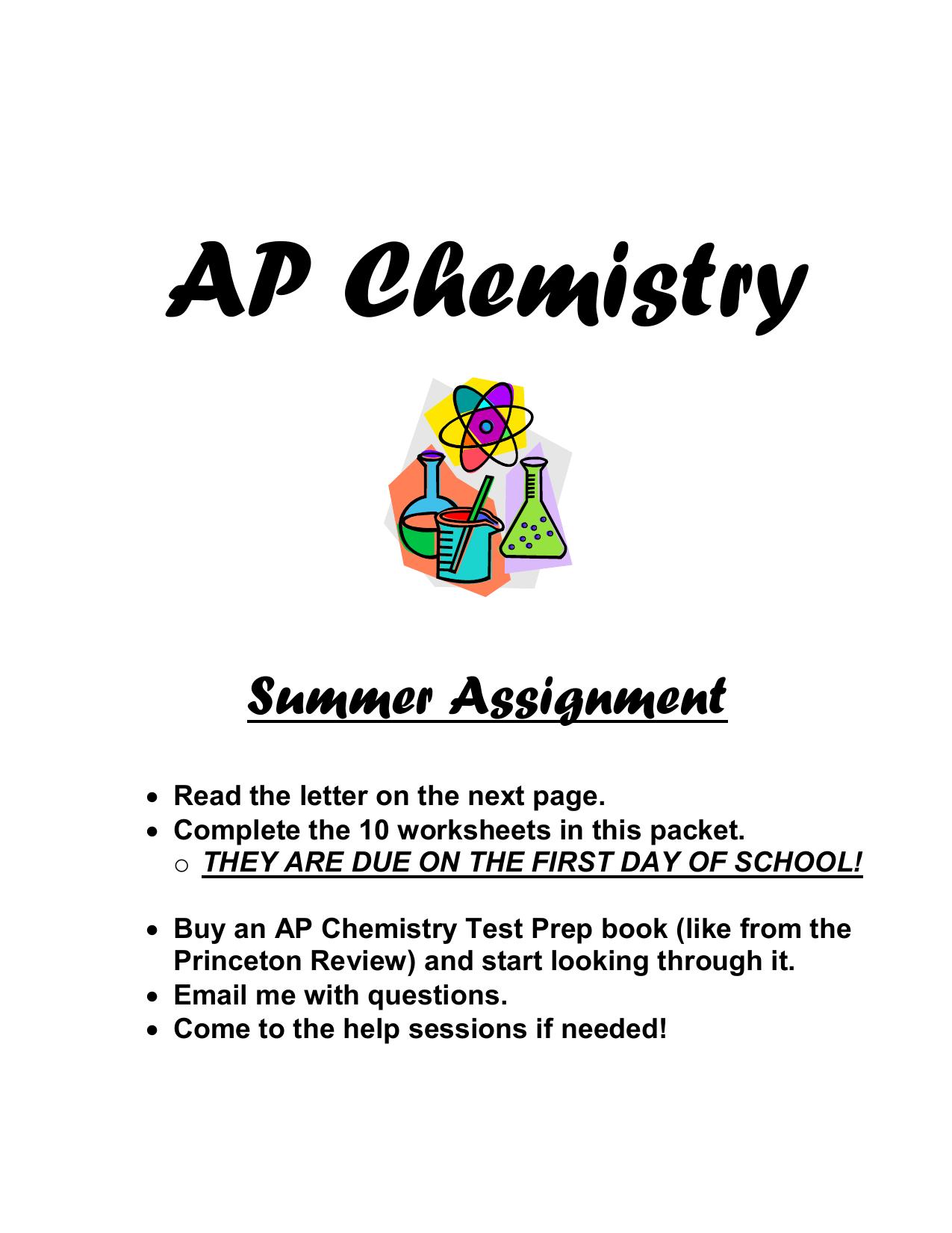 AP Chemistry Worksheet 2 - Sun Prairie Area School District