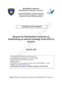 Consultation on Internet Exchange Point (IXP)