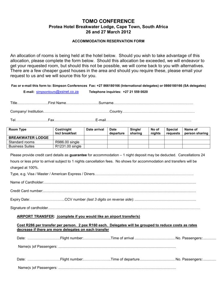 Accommodation Registration Form
