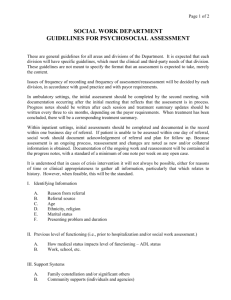 Social Work Guidelines for Psychosocial Assessment