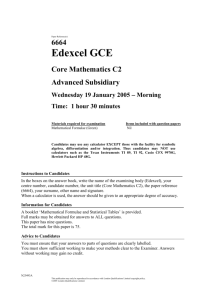 January 2005 - 6664 Core C2 - Question paper