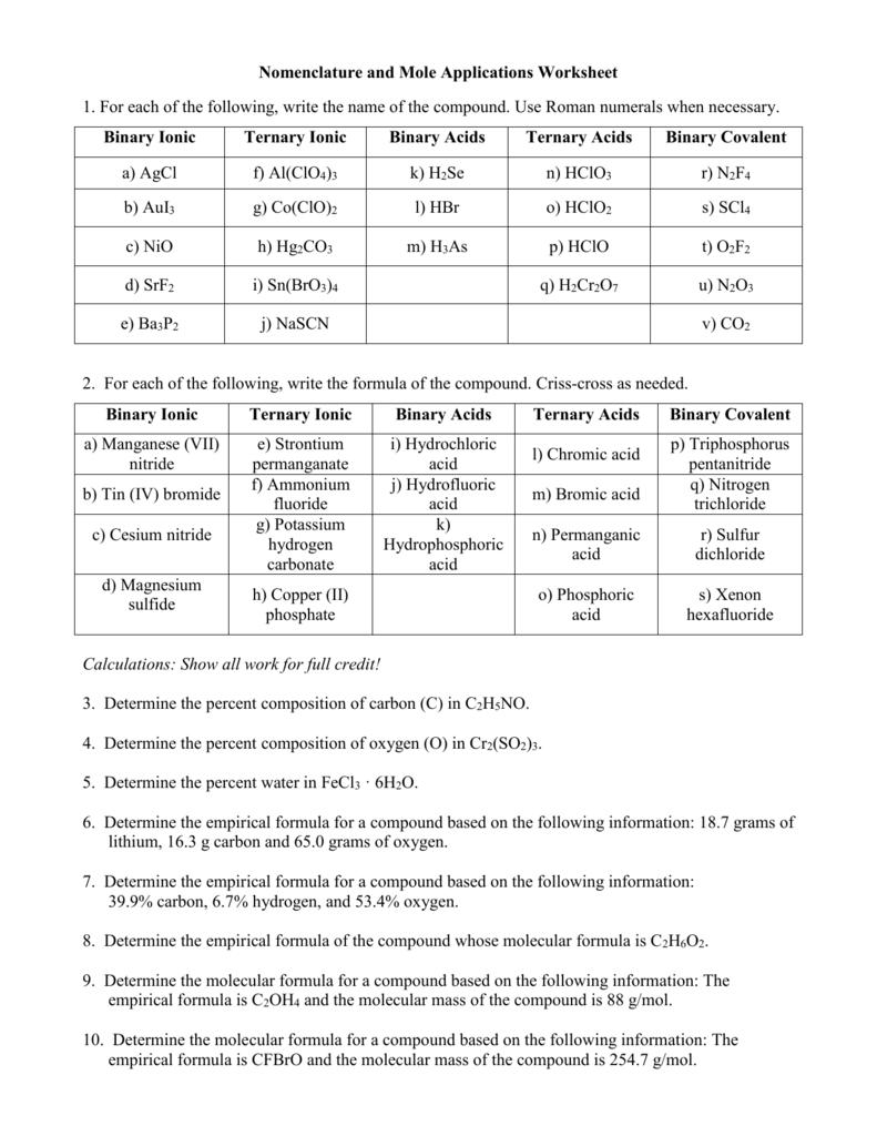 Nomenclature & Mole Application Worksheet