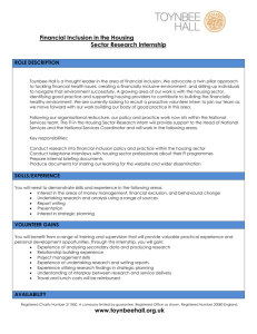 Financial Inclusion in the Housing Sector Research Internship ROLE