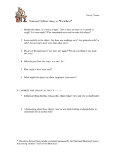 Historical Artifact Analysis Worksheet*