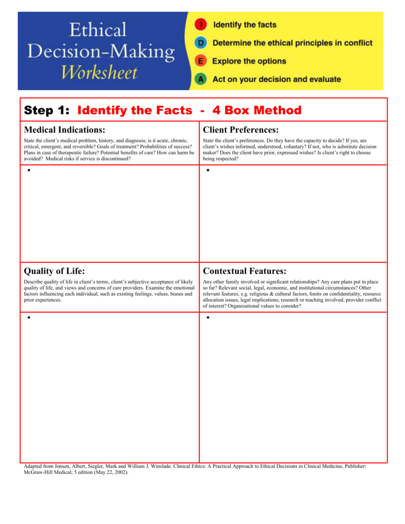 worksheet Decision Making Worksheet step 1 identify the facts 4 boxes method