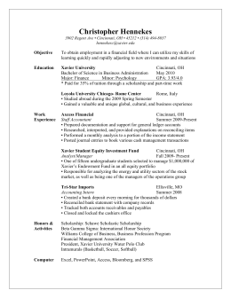 Resume - Xavier Student Investment Fund
