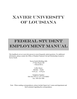Work-Study Student Manual - Xavier University of Louisiana