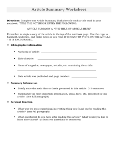Article Summary Worksheet