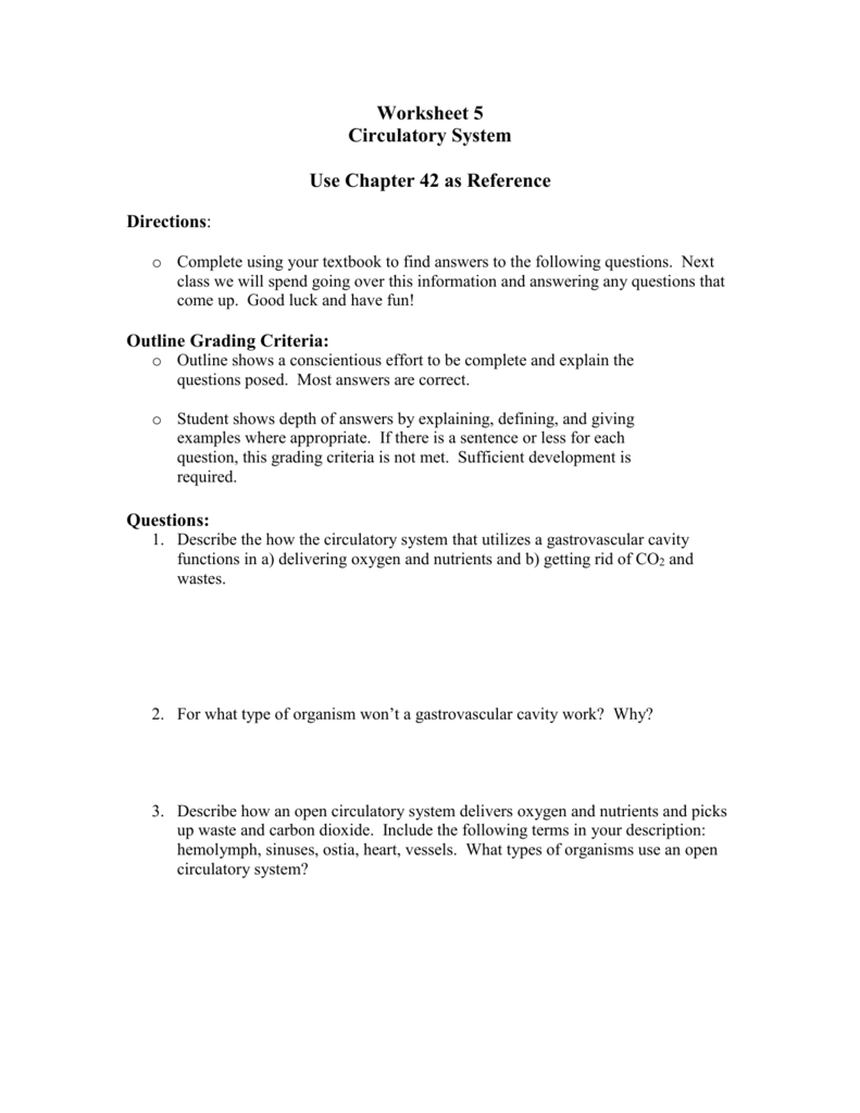 Worksheet Circulatory System – Circulatory System Worksheet