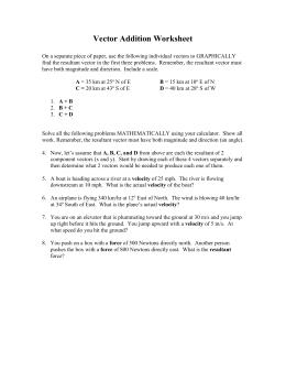 Vectors: Worksheet 2 Adding Vectors - Graphical Method