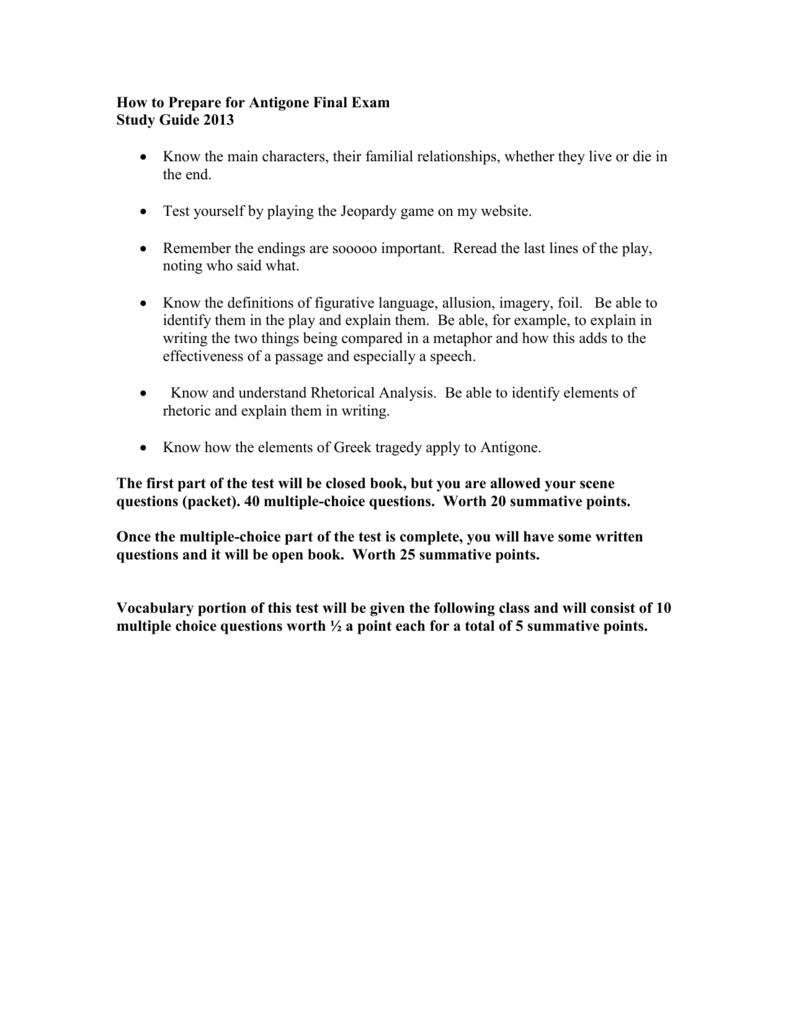 how to prepare for antigone final exam rh studylib net Spanish Study Packets antigone study guide packet answers