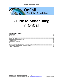 Guide to Scheduling in OnCall