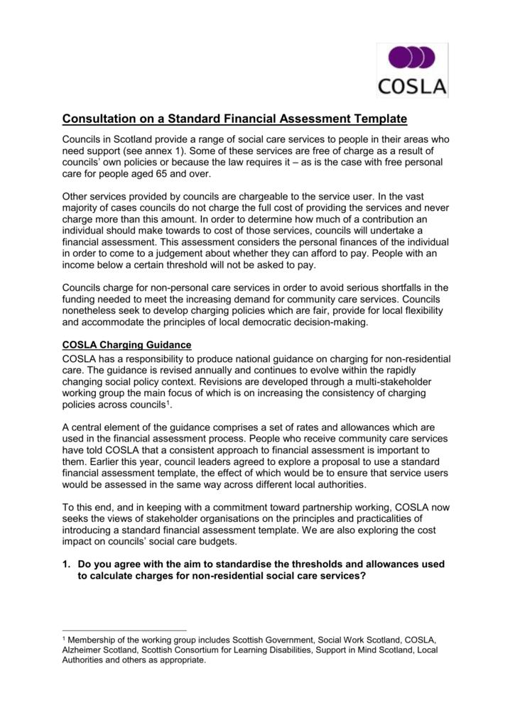 Cosla Consultation On A Standard Financial Assessment Template