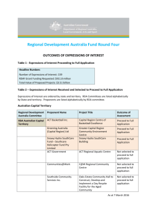 Regional Development Australia Fund Round Four OUTCOMES OF