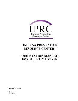 INDIANA PREVENTION RESOURCE CENTER ORIENTATION