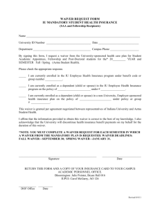 waiver request form - Indiana University