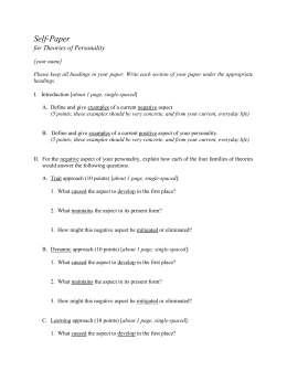 personality assessment and theories essay Personality traits essay  personality theories almost everyday we describe and assess the personalities of the people around us  and trait approaches.