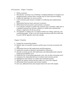 AP Economics Chapter 1 Checklist optional daily grade (answer on