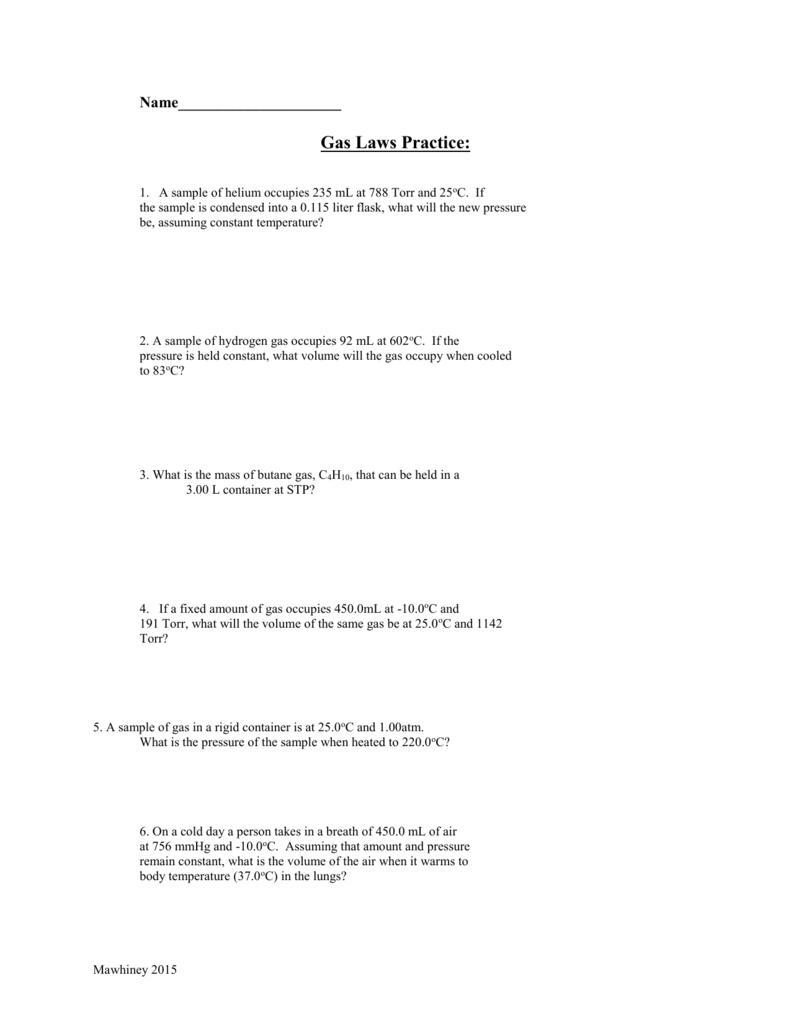 Worksheets Gas Laws Worksheet gas laws review worksheet